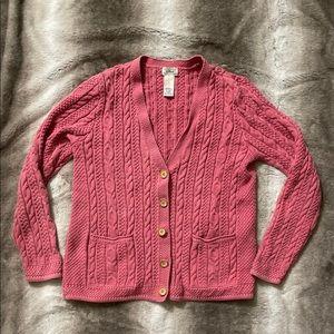 L.L. Bean Vintage V-neck Button Down Sweater Med